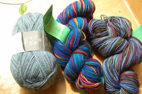 Trekking pro natura and two skeins of Colinette Jitterbug