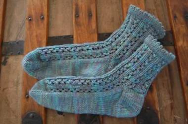 Rainy Day Lace Socks in KTS4 Yarn from KIM!! She's the best.